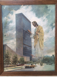 Jesus, United, and United Nations: <p>Garage sale find- Jesus at the United Nations building.</p>