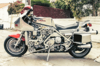 <p>Modified custom motorcycle with a Ferrari F136</p>: <p>Modified custom motorcycle with a Ferrari F136</p>