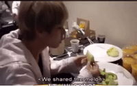 Tumblr, Blog, and Com: <We shared the melon> vforkimtaehyungbts:THIS LIL BRAT ATE AN ENTIRE MELON ALL BY HIMSELF 🍈