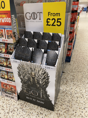 Disgusting what they try and sell in shops nowadays! 🤢: > CALORIES  Dict  rona  xtra  49000136909  Dict  Diet Ca  0  From  GOT  £25  SUGAR  QUENTIN TARANTINO  ORIES  NATIME ..  THE FINAL SEASON  YWOOD  136909  0544900  to this cas  STOCK  MARGOT RO  NO SUGAR • NO  BRAD PITT  LEONYPDO DICAPRIO  MERCOT RCEE,  FO PITT  TDIO  YOURIOLE  CALIMMENaT  Diet  AN HORIGINAL SERIES  SUGAR  ANHORIGINAL SERIES  HAME OF IHRONES  AN HORIGINAL SERIES  LORIES  GAMEOFTHRONES  ANH0ORIGINAL SERIES  GAME OF THRONES  ( GAMEFTHRONEȘ  THE COMPLETE EIGHTH SEASON  THE COMPLETE EIG HTH SEASON  THE COMPLETE FIGHTLSEASON  SEASON  BLU-RAY  to the Chese  A UPONATIME  UPONATIME  ase  HOLLYWOOD  OLLYWOOD  30536909  18  New  AN HDDORIGINAL SRIES  AN HOORIGINAL SERIES  GAME OF THRONES  GAME OF THRONES  AN ORIGISAL SERIES  ANHDOORIGNAL SERIES  GUARDIAN  GAME THRONES GAMETHRONES  la  TIHE 7TLM FRON QUENTON TARANTIN  LEDNRCO DICAPRIO BRAD PITT MARd  THE COMPLETE EIGHTH SEASON  THE COMPLETE EIGHTH SEASON  THE COMPLETE EIGHTH SEASON  THE COMPLETE EIGHTH SEASON  KFRUR ENTA TARANTIN  DCFRO FD FYIT MARCOT ROE  ONCE UPONATIME  EUPONATIME .  BLU-RAY  HOLLYWO  LYWOOD  ANH0ORIGINAL SERIES  GAME THRON GAME OFTHRONES  MDO ORIGINAL SERIES  AN HBOOKGINAL SERIES  HORIGINAL SERIES  GAME OF THRONES  GAME OF HRONES  EA  THE COMPLETE EIGHTH SEASC  THE COMPLETE EIGHTH SEASON  THE COMPLETE EIG HTH SEASON  THE COMPLETE EIGHTH SEASON  18  10 New *  ME OUT  18  18  LEC  un IENT TARANTN  1B  18  18  ON  CEUPONATIME  HO  E25 New  LLYWOOD  Came Of Thronen  Seauon Dvd  4Disc  £30 New  Game Of Thrones  Season 8 Blu Ray  3Dise  £10 New  NME  ONCE UPONATIME  FT ENT TRANTIN  ONCEUPONATIME  HOLLYWOOD HOLLYWOO  £10 New ★  Once liponA  Tiee  HE TIMES  THE STH PILM FROM CUENTIN TARANTINO  GOT  ONCE  UPONATIME  THE FINAL SEASON  HOLLYWOOD  BUY IT NOW  OWN IT NOW  1OTRin  959991  COOD  To buy,  to the C  To buy,  take this case  to the Checkout  To buy.  Che  To buy,  take this case  to the Checkout  is case  e Checkout  take th  Checkout  To buy,  take this case  GAM E oTEIR ONES  to the Checkout  To buy,  take this ca  seckout  GAME  HOLLYWOOD  ONCE UPONATIME IN..  To buy,  take this c  he Checkout  To be  take this case  he Checkout  THRONES |  12 E HOLLYWO0  HOLLYWOO  NsE HOLLYWOOD Disgusting what they try and sell in shops nowadays! 🤢