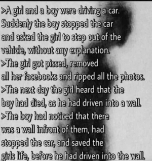 Me irl by bumpercarz87 MORE MEMES: >A girl and a boy were driving a car.  Suddenly the boy stopped the car  and asked the girl to step out of the  vehicle, without any explanation.  >The girl got pised, removed  all her facebooks and ripped all the photos.  >The next day the girl heard that the  boy had died, as he had driven into a wal.  >The boy had noticed that there  was a wall infront of them, had  stopped the car, and saved the  girls life, before he had driven into the wall Me irl by bumpercarz87 MORE MEMES