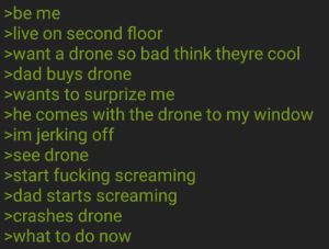 Bad, Dad, and Drone: >be me  live on second floor  want a drone so bad think theyre cool  >dad buys drone  wants to surprize me  >he comes with the drone to my window  >im jerking off  >see drone  >start fucking screaming  >dad starts screaming  >crashes drone  what to do novw drone adventure