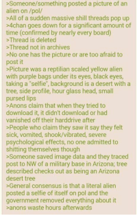 """pursed lip: >Someone/something posted a picture of an  alien on pol  All of a sudden massive shill threads pop up  >4chan goes down for a significant amount of  time (confirmed by nearly every board)  >Thread is deleted  >Thread not in archives  No one has the picture or are too afraid to  post it  >Picture was a reptilian scaled yellow alien  with purple bags under its eyes, black eyes,  taking a """"selfie"""", background is a desert with a  tree, side profile, hour glass head, small  pursed lips  >Anons claim that when they tried to  download it, it didn't download or had  vanished off their harddrive after  >People who claim they saw it say they felt  sick, vomited, shook/vibrated, severe  psychological effects, no one admitted to  shitting themselves though  Someone saved image data and they traced  post to NW of a military base in Arizona; tree  described checks out as being an Arizona  desert tree  >General consensus is that a literal alien  posted a selfie of itself on pol and the  government removed everything about it  >anons waste hours afterwards"""