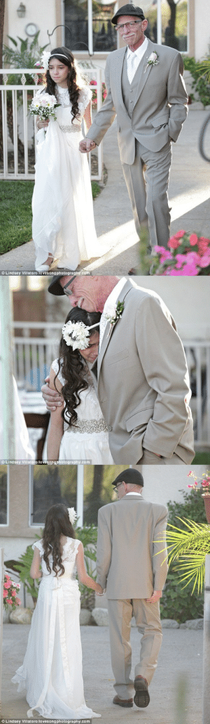 """hiddenlex:  """"Knowing that he wouldn't be there for her wedding, a terminally ill father walked his 11-year-old down the 'aisle' years early with the pastor sweetly pronouncing them 'daddy and daughter'. Jim Zetz, 62, fromMurrieta, California, who has stage 4 pancreatic cancer, proudly held his daughter, Josie's hand during their backyard ceremony on March 14 and placed a sparkling ring on her index finger."""" : © Lindsey Villatoro/lovesongphotography.com   © Lindsey Villatoro/lovesongphotography.com   © Lindsey Villatoro/lovesongphotography.com hiddenlex:  """"Knowing that he wouldn't be there for her wedding, a terminally ill father walked his 11-year-old down the 'aisle' years early with the pastor sweetly pronouncing them 'daddy and daughter'. Jim Zetz, 62, fromMurrieta, California, who has stage 4 pancreatic cancer, proudly held his daughter, Josie's hand during their backyard ceremony on March 14 and placed a sparkling ring on her index finger."""""""