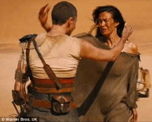 In Mad Max: Fury Road (2015), Furiosa explains to the Valkyrie that she had come from out west. This is a subtle nod to when she told her crew, earlier in the film, that she was heading east.: © Warner Bros. UK In Mad Max: Fury Road (2015), Furiosa explains to the Valkyrie that she had come from out west. This is a subtle nod to when she told her crew, earlier in the film, that she was heading east.