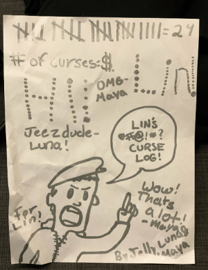 Bill brought his daughters to hang backstage during tonight's @freestylelove Supreme show. With @jellyd, they drew this for me: 🤣🤣🤣🤣🤣🤣🤣🤣🤣🤣🤣 https://t.co/nsAnqV3CvU: Ħ of curses .  оме-  Maya  Jeezdude-  Luna!  LINS  CO!*?  CURSE  LOG!  Wow!  Thats  a lot!  By Jelh Lunas  Maya Bill brought his daughters to hang backstage during tonight's @freestylelove Supreme show. With @jellyd, they drew this for me: 🤣🤣🤣🤣🤣🤣🤣🤣🤣🤣🤣 https://t.co/nsAnqV3CvU