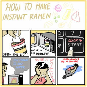 Inspired by an old favorite [OC]: ΤΟ ΑΚΕ  TO MAKE  HOW TO  G  INSTANT RAMEN  CLICK  START  PP  PUT IT IN  THE MICROWAVE.  OPEN THE LID  YOUL ALWAY S  BE A FAILURE  YOU'RE A  YOU FORGOT  TO ADD  WATER  ODSS8 Inspired by an old favorite [OC]