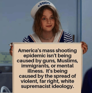 Far Right: Ано  America's mass shooting  epidemic isn't being  caused by guns, Muslims,  immigrants, or mental  illness. It's being  caused by the spread of  violent, far right, white  supremacist ideology.