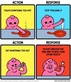 sander: АCTION  RESPONSE  TOUCH SOMETHING TOO HOT  STOP TOUCHING IT  RESPONSE  АСTION  POWER THROUGH THE  PAIN AND SCORCH YOUR  ENTIRE MOUTH  EAT SOMETHING TOO HOT  MRLOVENSTEIN.COM  THIS COMIC MADE POSSIBLE THANKS TO SANDER DE GROOTE