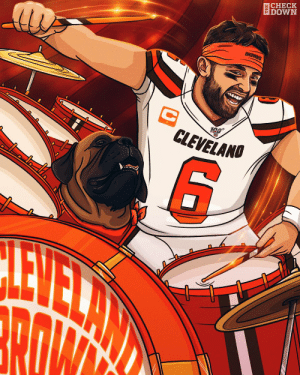 .@bakermayfield and the @Browns felt it in the air tonight 🥁 #Browns (via @thecheckdown) https://t.co/bZJE9P27Uu: ВCHECK  EDOWN  BROWNS  C  CLEVELANO  10a .@bakermayfield and the @Browns felt it in the air tonight 🥁 #Browns (via @thecheckdown) https://t.co/bZJE9P27Uu