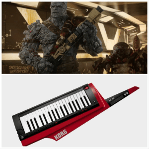 Korg, the rock-based alien from Thor Ragnarok (2017), is not holding an 80s era Korg keytar in this scene, despite how awesome that would be.: ДОВАУETEC  AESJAEBAAZA  Mя  П И  100  KORG Korg, the rock-based alien from Thor Ragnarok (2017), is not holding an 80s era Korg keytar in this scene, despite how awesome that would be.