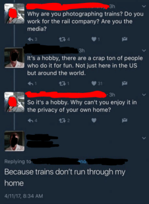 Meirl: Зh  Why are you photographing trains? Do you  work for the rail company? Are you the  media?  274  Зh  It's a hobby, there are a crap ton of people  who do it for fun. Not just here in the US  but around the world.  <-1  71  31  - 3h  So it's a hobby. Why can't you enjoy it in  the privacy of your own home?  Replying to  ana  Because trains don't run through my  home  4/11/17, 8:34 AM Meirl