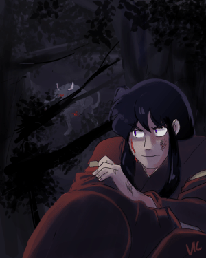 incaseyouart:  Quick fanart for Inu/Kag week!! Today's prompt was Fear with the colour black, so I immediately imagined a slightly-younger (pre-Kagome & co) Inuyasha alone and scared on his human night, hiding from a demon. Sorry Kagome you didn't get to be in this one haha :P Check out the @inukag-week for the prompts~ : Ис incaseyouart:  Quick fanart for Inu/Kag week!! Today's prompt was Fear with the colour black, so I immediately imagined a slightly-younger (pre-Kagome & co) Inuyasha alone and scared on his human night, hiding from a demon. Sorry Kagome you didn't get to be in this one haha :P Check out the @inukag-week for the prompts~