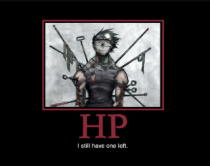 1 HP: НР  I sill have one left. 1 HP