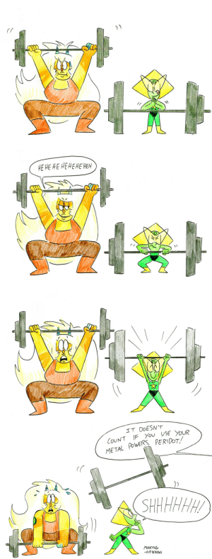 Flexing, Tumblr, and Blog: НE НЕ НЕ НЕНЕНЕНЕH   IT DOESN'T  COUNT IF You USE YOUR  METAL POWERS PERIDOT  SHHHHHH  MAKING  -FRIENDOS making-friendos:Jasper can flex with her muscles, but Peri can flex with her mind ;D