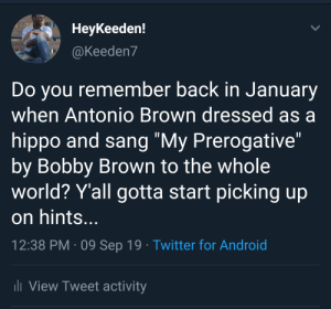 """I don't need permission, make my own decisions..."": Нeykeeden!  @Keeden7  Do you remember back in January  when Antonio Brown dressed as a  hippo and sang ""My Prerogative""  by Bobby Brown to the whole  world? Y'all gotta start picking up  on hints...  12:38 PM 09 Sep 19 Twitter for Android  li View Tweet activity ""I don't need permission, make my own decisions..."""