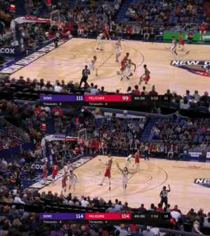 👀 LONZO BALL with the step-back!  https://t.co/JH7QcJ04xf: сох  NEW O  99  111  SUNS  PELICANS  4th Qtr  9:56  21  Timeouts: 4  Timeouts: 4   152  Chevron  Attefarm  CHAMPIONS  SQUARE  COX  18  104  7:52  4th Qtr  114  PELICANS  SUNS  Timeouts: 4  Timeouts: 4 👀 LONZO BALL with the step-back!  https://t.co/JH7QcJ04xf