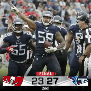 FINAL: The @Titans hold off the Buccaneers to secure a home win! #TBvsTEN https://t.co/xChcZ6zoIa: Тт  ТTANS  58  $5  ТтяNS  FINAL  23 27  ра FINAL: The @Titans hold off the Buccaneers to secure a home win! #TBvsTEN https://t.co/xChcZ6zoIa