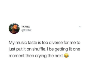 Diverse: ТХЯBZ  @txrbz  My music taste is too diverse for me to  just put it on shuffle. I be getting lit one  moment then crying the next
