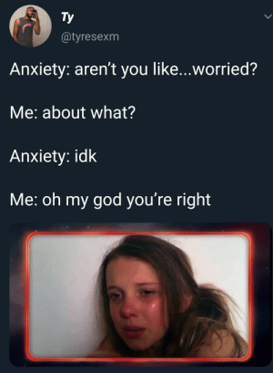 I see myself in this photo and I don't like it. (via /r/BlackPeopleTwitter): Тy  @tyresexm  Anxiety: aren't you like...worried?  Me: about what?  Anxiety: idk  Me: oh my god you're right I see myself in this photo and I don't like it. (via /r/BlackPeopleTwitter)