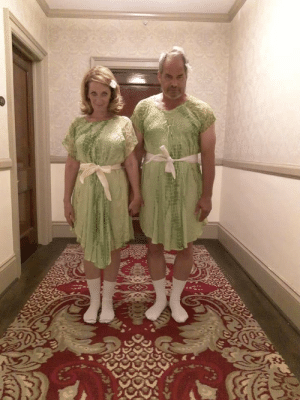 Lucky enough to find matching dresses for my boyfriend and me so we could do this pose at the Stanley Hotel. Estes Park, Co Thrift shop.: ל  רגימ Lucky enough to find matching dresses for my boyfriend and me so we could do this pose at the Stanley Hotel. Estes Park, Co Thrift shop.