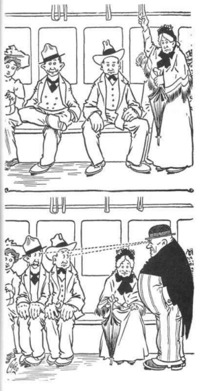 "froginakettle:  guyalice:  unpretty:  The Outbursts of Everett True was a comic strip that ran in papers from 1905 to 1927, wherein the aforementioned Everett True regularly beat the everliving shit out of rude people as a warning to anyone else who might consider being rude. Men have not only been taking up too much room on public transport for about as long as public transport has existed, but the people around them have been irritated about it for at least a hundred years. The next time someone tries to claim that manspreading is a false phenomenon, please direct them to this strip so that Everett True can correct their misconceptions with an umbrella upside the head.  I have never before heard of Everett True, but if he ""regularly beat the everliving shit out of rude people as a warning to anyone else who might consider being rude,"" I have a strong spiritual connection with him.  : ఇ  క froginakettle:  guyalice:  unpretty:  The Outbursts of Everett True was a comic strip that ran in papers from 1905 to 1927, wherein the aforementioned Everett True regularly beat the everliving shit out of rude people as a warning to anyone else who might consider being rude. Men have not only been taking up too much room on public transport for about as long as public transport has existed, but the people around them have been irritated about it for at least a hundred years. The next time someone tries to claim that manspreading is a false phenomenon, please direct them to this strip so that Everett True can correct their misconceptions with an umbrella upside the head.  I have never before heard of Everett True, but if he ""regularly beat the everliving shit out of rude people as a warning to anyone else who might consider being rude,"" I have a strong spiritual connection with him."