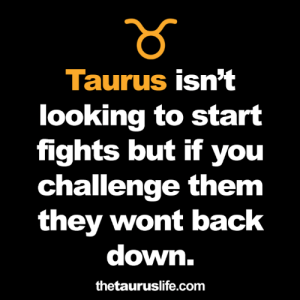 back down: าร์  Taurus isn't  looking to start  fights but if you  challenge them  they wont back  down.  thetauruslife.com