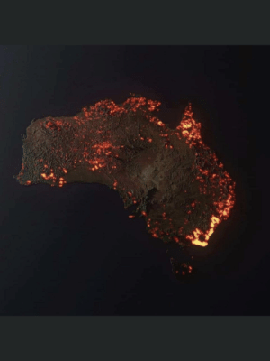 """""""3D """"visualisation"""" of the fires in Australia, made from NASA satellite data. These are all the areas which have been affected, but not all the areas are still burning."""" 📸 Credit ~ Anthony Hearsey - Creative Imaging: """"3D """"visualisation"""" of the fires in Australia, made from NASA satellite data. These are all the areas which have been affected, but not all the areas are still burning."""" 📸 Credit ~ Anthony Hearsey - Creative Imaging"""