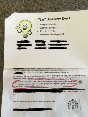 """Lit"" Activity Days... My little brother got this packet for his gospel activity days. They define ""Lit"" as short for Legit or Legitimate....: ""Lit"" Activity Days... My little brother got this packet for his gospel activity days. They define ""Lit"" as short for Legit or Legitimate...."