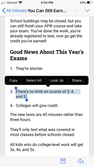 """""""There's no limit on scores of 3,4, and 5"""" - what does that mean? Also it says all who do college level work will receive credit.: """"There's no limit on scores of 3,4, and 5"""" - what does that mean? Also it says all who do college level work will receive credit."""