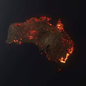 """""""This is a 3D visualisation of the fires in Australia. NOT A PHOTO. Think of this as prettier looking graph... """" Credit to Anthony Hearsey - Creative Imaging: """"This is a 3D visualisation of the fires in Australia. NOT A PHOTO. Think of this as prettier looking graph... """" Credit to Anthony Hearsey - Creative Imaging"""