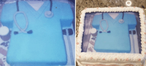 """We sent this cake photo (left) to a cake shop, and this is what we got (right)"": ""We sent this cake photo (left) to a cake shop, and this is what we got (right)"""