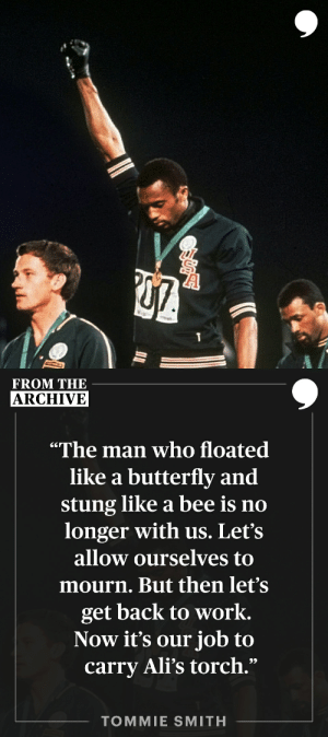 """""""Very few people in this world put action behind their words. Muhammad Ali did."""" —Tommie Smith   📝: https://t.co/HRpKD78W6F https://t.co/mK6XXReDjP: """"Very few people in this world put action behind their words. Muhammad Ali did."""" —Tommie Smith   📝: https://t.co/HRpKD78W6F https://t.co/mK6XXReDjP"""
