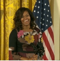 """Memes, Wshh, and Quiet: ★★★★大 First Lady MichelleObama jokingly tells an audience member to """"be quiet back there"""" after hearing him shout """"Run for president!"""" 😌😅 WSHH (via @cnnpolitics)"""