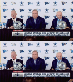 """The goal will never change here. It's about winning championships.""  The @DallasCowboys introduce Mike McCarthy as head coach. #DallasCowboys https://t.co/pb9IbAqbdj: ★ Lite  Lite *  Lite  Lite  Lite *  ter  tter  Lite  lite  Lite  RiP  Lite  Lit  LIVE COVERAGE  Cowboys introduce Mike McCarthy as head coach  125 career wins as Packers HC (2nd in franchise history)   ★ Lite * Lite  Lite  Lite  Lite  Lite  Lite  Tite  Lite  Lit  LIVE COVERAGE  Cowboys introduce Mike McCarthy as head coach  125 career wins as Packers HC (2nd in franchise history) ""The goal will never change here. It's about winning championships.""  The @DallasCowboys introduce Mike McCarthy as head coach. #DallasCowboys https://t.co/pb9IbAqbdj"