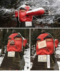 """Memes, 🤖, and Kyoto: ようこそ天狗の  鞍馬へ 1だ  ただいま治療中  """"X  I'lsinl The weight of all the snow in Kyoto broke the nose of this Tengu. So they put a bandaid on it. Follow @9gag @9gagmobile 9gag kamisama"""