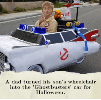 """Jeremy Miller was born with spina bifida, a birth defect in which the baby's spinal cord fails to develop properly, causing him to be confined to a wheelchair. For this Halloween, Jeremy's dad, Ryan, created a """"Ghostbusters"""" Ecto-1 vehicle, which will be propelled by his wheelchair and will even feature a working siren. For past Halloweens, Miller has designed Captain America's motorcycle, a brightly lit float from Disneyland's Main Street Electrical Parade and a Star Wars TIE fighter, which even got a mention on Twitter from actor Mark Hamill. Miller states that the elaborate costumes he creates every year allow Jeremy to be the center of attention in a way that draws positive attention to his wheelchair. Cred: @News on Instagram: ク  A dad turned his son's wheelchair  into the 'Ghostbusters' car for  Halloween. Jeremy Miller was born with spina bifida, a birth defect in which the baby's spinal cord fails to develop properly, causing him to be confined to a wheelchair. For this Halloween, Jeremy's dad, Ryan, created a """"Ghostbusters"""" Ecto-1 vehicle, which will be propelled by his wheelchair and will even feature a working siren. For past Halloweens, Miller has designed Captain America's motorcycle, a brightly lit float from Disneyland's Main Street Electrical Parade and a Star Wars TIE fighter, which even got a mention on Twitter from actor Mark Hamill. Miller states that the elaborate costumes he creates every year allow Jeremy to be the center of attention in a way that draws positive attention to his wheelchair. Cred: @News on Instagram"""