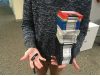 Memes, Drive, and 🤖: ザ6-2  yw 128GB flash drive in his right hand 132MB worth of floppy disks in his left hand. (Follow @the8tech for more tech posts )
