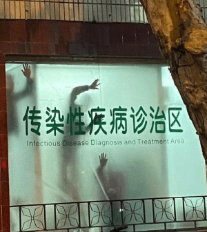 This infectious disease hospital having its windows decorated: 传染性疾病诊治区  Infectious Disease Diagnosis and Treatment Area  XILIEIEIK This infectious disease hospital having its windows decorated
