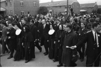 "Catholic clergy marching with Martin Luther King in Selma, 1965.  ""Created in the image of the one God and equally endowed with rational souls, all men have the same nature and the same origin. Redeemed by the sacrifice of Christ, all are called to participate in the same divine beatitude: all therefore enjoy an equal dignity.  The equality of men rests essentially on their dignity as persons and the rights that flow from it:  Every form of social or cultural discrimination in fundamental personal rights on the grounds of sex, race, color, social conditions, language, or religion must be curbed and eradicated as incompatible with God's design."" CCC 1934-1935: 力 Catholic clergy marching with Martin Luther King in Selma, 1965.  ""Created in the image of the one God and equally endowed with rational souls, all men have the same nature and the same origin. Redeemed by the sacrifice of Christ, all are called to participate in the same divine beatitude: all therefore enjoy an equal dignity.  The equality of men rests essentially on their dignity as persons and the rights that flow from it:  Every form of social or cultural discrimination in fundamental personal rights on the grounds of sex, race, color, social conditions, language, or religion must be curbed and eradicated as incompatible with God's design."" CCC 1934-1935"