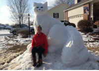 Memes, Giant, and Giants: 聪1 Two for Tuesday! Carolyn Brannock snows how to sculpt!!! Beautiful  seen on http://myfox8.com/2015/02/28/front-yard-in-randolph-county-with-giant-snow-cat-gets-even-better/