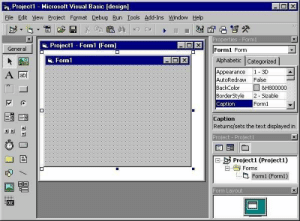 Remember your first dev project?: 阀 Project1 -Microsoft Visual Basic [design]  Eile Edit View Project Format Debug Run Iools Add-Ins Window Help  Properties Formi  . Projecl Form1 (Form]  General  Formi Form  Alphabetic Categorized  . Forml  Appearance 1-3D  AF可  AutoRedraw False  ackColor □841800000  BorderStyle 2- Sizable  Caption  Form1  Caption  Returnsisets the text displayed in  씌  4의  roject Project1  曰陟Project1 (Project1)  3 Forms  Form1 (Form1)  Form Layout  OLE Remember your first dev project?