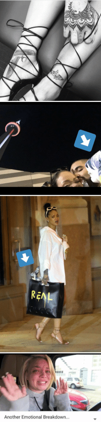 Dating, Drake, and Rihanna: 겨   -no   Another Emotional Breakdown... Rihanna just got a tattoo of a shark toy that Drake gave her on their Aquarium date