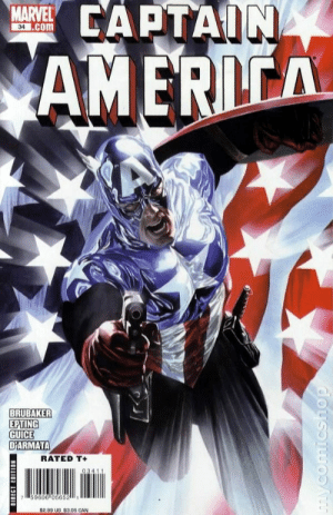 The cover of Captain America #34 features Bucky's first appearance as Captain America. In Avengers Endgame (2019) Bucky does not become Cap meaning this issue I've held onto didn't go up in value like I thought it would.: 부 CAPTAIN  MARVEL  34 .com  AME  BRUBAKER  EPTING  UICE  DİARMATA  RATED T+  59606 05652  P.90 3 $3 05 CAN The cover of Captain America #34 features Bucky's first appearance as Captain America. In Avengers Endgame (2019) Bucky does not become Cap meaning this issue I've held onto didn't go up in value like I thought it would.