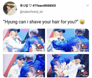 "Memes, Hair, and Exo: 후니 밥  #7YearsWith EXO  @rulerofwind_sh  ""Hyung can i shave your hair for you?""  ID EXO memes"