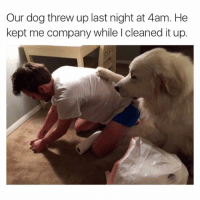 Our dog threw up last night at 4am. He  kept me company while l cleaned it up. (Twitter: commonwhitegirl)