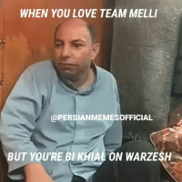FOLLOW 🔥🔥🔥@PERSIANMEMESOFFICIAL🔥🔥🔥 for the funniest Persian memes & videos!!!: WHEN YOU LOVE TEAM MELLI  @PERSIANMEMESOFFICIAL  BUT YOU'RE BI KHIAL ON WARZESH FOLLOW 🔥🔥🔥@PERSIANMEMESOFFICIAL🔥🔥🔥 for the funniest Persian memes & videos!!!