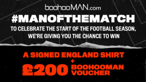 🔥 FOOTBALL IS BACK 🔥  Predict the correct #MANoftheMatch in the City vs. Arsenal game to #WIN a Signed England Shirt + a £200 boohooMAN Voucher 🤑💸   TO ENTER:  1️⃣ Like & RT 2️⃣ Reply with your MOTM prediction and #MANoftheMatch 3️⃣ Make sure you're following us  T&Cs apply. https://t.co/aMnHNQzDVu: 🔥 FOOTBALL IS BACK 🔥  Predict the correct #MANoftheMatch in the City vs. Arsenal game to #WIN a Signed England Shirt + a £200 boohooMAN Voucher 🤑💸   TO ENTER:  1️⃣ Like & RT 2️⃣ Reply with your MOTM prediction and #MANoftheMatch 3️⃣ Make sure you're following us  T&Cs apply. https://t.co/aMnHNQzDVu