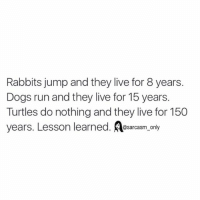 ⠀: Rabbits jump and they live for 8 years.  Dogs run and they live for 15 years.  Turtles do nothing and they live for 150  years. Lesson learned. sarcasm only ⠀