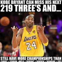 True much love and respect for one of the greatest to play the game Kobe Bryant thank you for all the thrilling memories 💯 FinalSeason: KOBE BRYANT CAN MISS HIS NEXT  219 THREE'S AND  @NBAMEMES  AKERS  STILL HAVE MORE CHAMPIONSHIPS THAN True much love and respect for one of the greatest to play the game Kobe Bryant thank you for all the thrilling memories 💯 FinalSeason